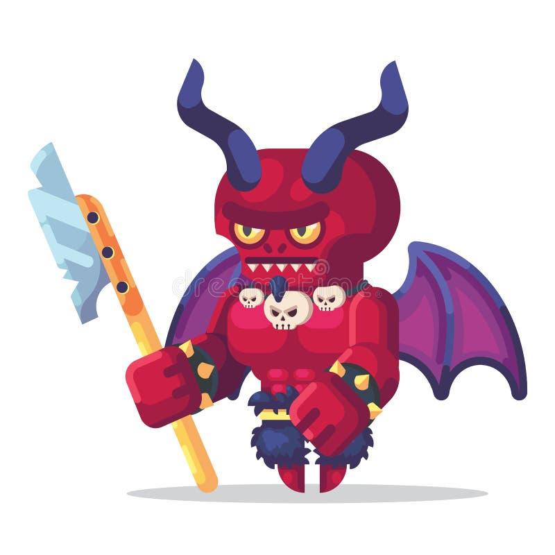 Van het het Spelkarakter van het fantasierpg spel de monsters en de heldenpictogrammenillustratie Helstrijder, demon, duivel, sat royalty-vrije illustratie