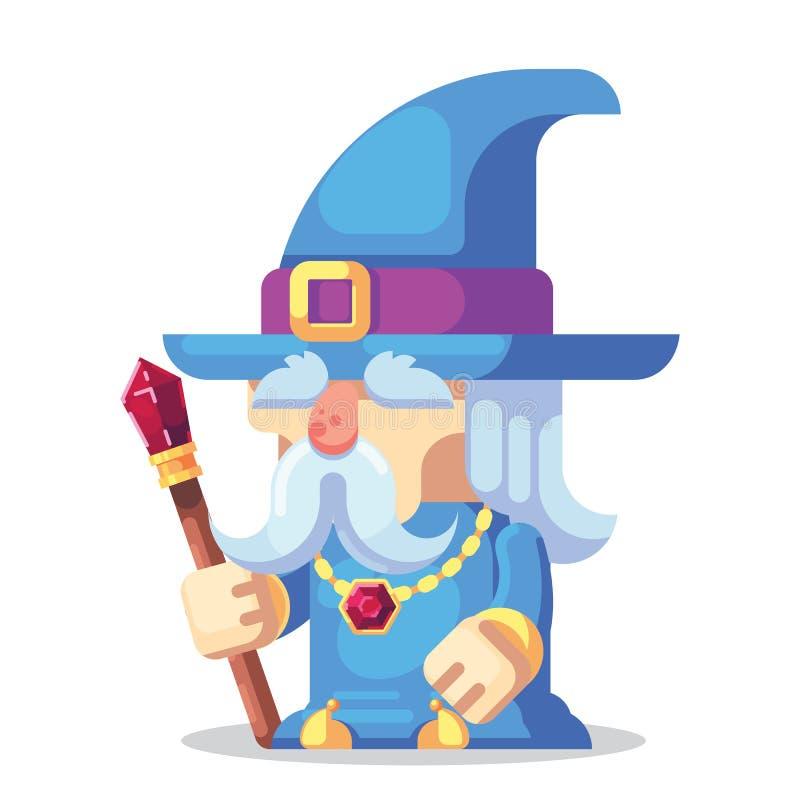 Van het het Spelkarakter van het fantasierpg spel de monsters en de heldenpictogrammenillustratie Oude tovenaar met personeel en  royalty-vrije illustratie