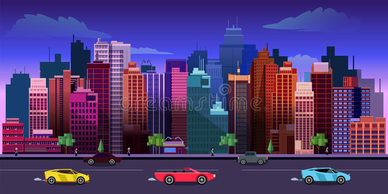 Van het stadsspel 2d toepassing als achtergrond Vector ontwerp stock illustratie