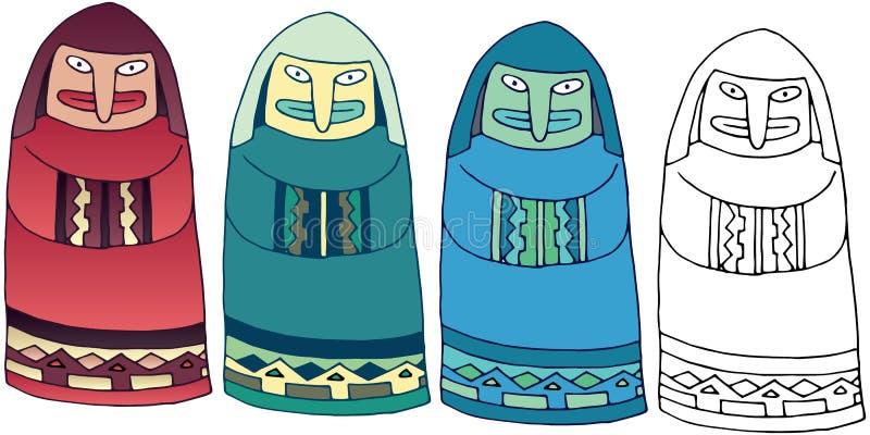 Van het het standbeeldmonster van de beeldverhaalkrabbel geheimzinnige de kleuren vastgestelde hand getrokken monnik vector illustratie