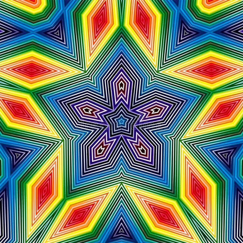 Van het sterpatroon geometrische samenvatting als achtergrond caleidoscopisch stock illustratie