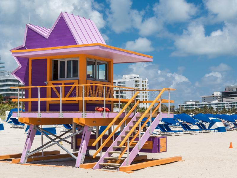 Van het Strandart deco van Miami de badmeester Tower stock afbeelding