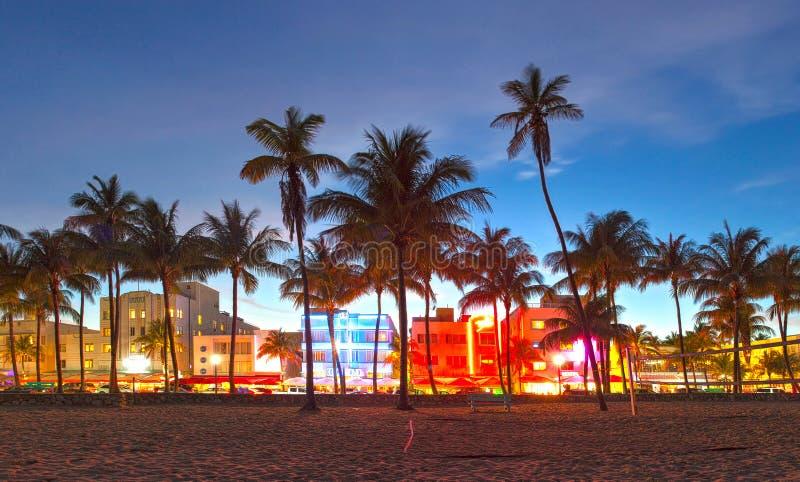 Van het Strandflorida van Miami de mooie zonsondergang royalty-vrije stock afbeeldingen