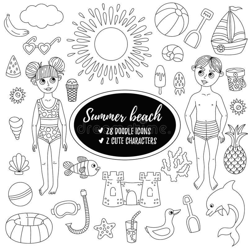 Van het het strandspeelgoed ANS van de de zomervakantie van de kinderenkarakters van de de krabbellijn de vectorreeks royalty-vrije illustratie