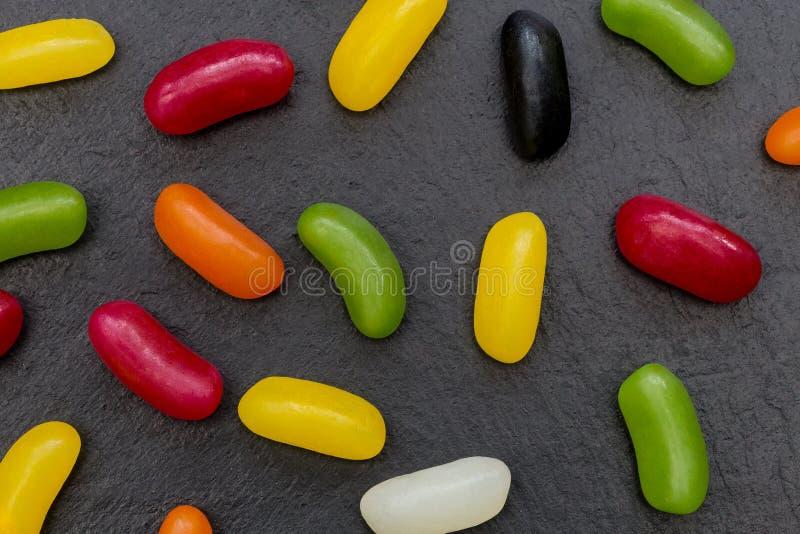 Van het suikergoedsnoepjes van geleibonen abstracte het voedselachtergrond royalty-vrije stock afbeeldingen