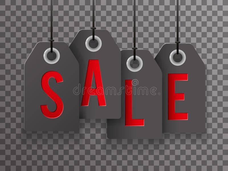 Van het Symbooletiketten van Black Friday van de verkooptekst van het Achtergrond pictogramtransperent Malplaatje Vectorillustrat royalty-vrije illustratie