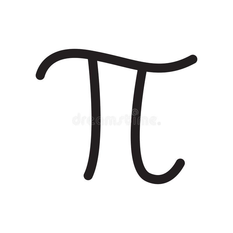 Van het het symboolpictogram van pi het constante vectordieteken en het symbool op witte achtergrond, concept van het het symbool vector illustratie