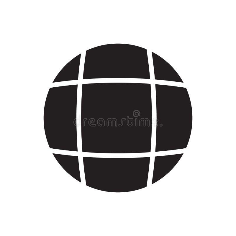 Van het het symboolpictogram van het planeetnet het cirkel vectordieteken en het symbool op witte achtergrond wordt geïsoleerd stock illustratie