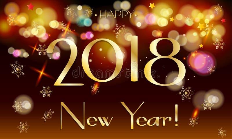 van het het teken Gelukkig Nieuwjaar van 2018 de lichtenvuurwerk bokeh vector illustratie