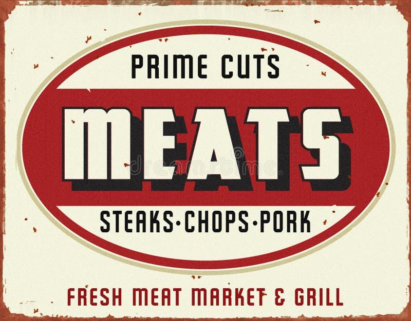 Van het Teken het Uitstekende Grunge van de vleesmarkt Retro Tin royalty-vrije illustratie