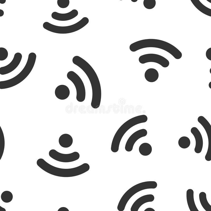 Van het het tekenpictogram van Wifiinternet naadloze het patroonachtergrond Draadloze de technologie vectorillustratie van WiFi N royalty-vrije illustratie