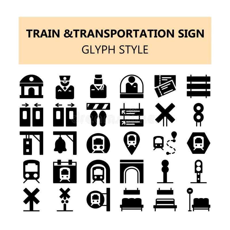 Van het het tekenpixel van het treinvervoer plaatsen de perfecte pictogrammen in vast lichaam en schetsen stijl stock illustratie