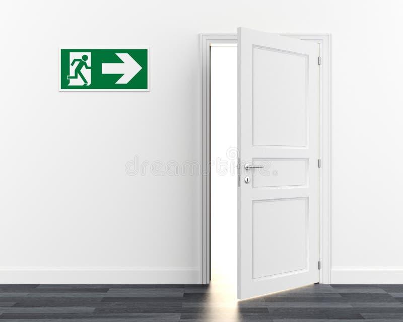 Van het het tekensymbool van de uitgangsdeur de evacuatie van de de noodsituatievlucht vector illustratie