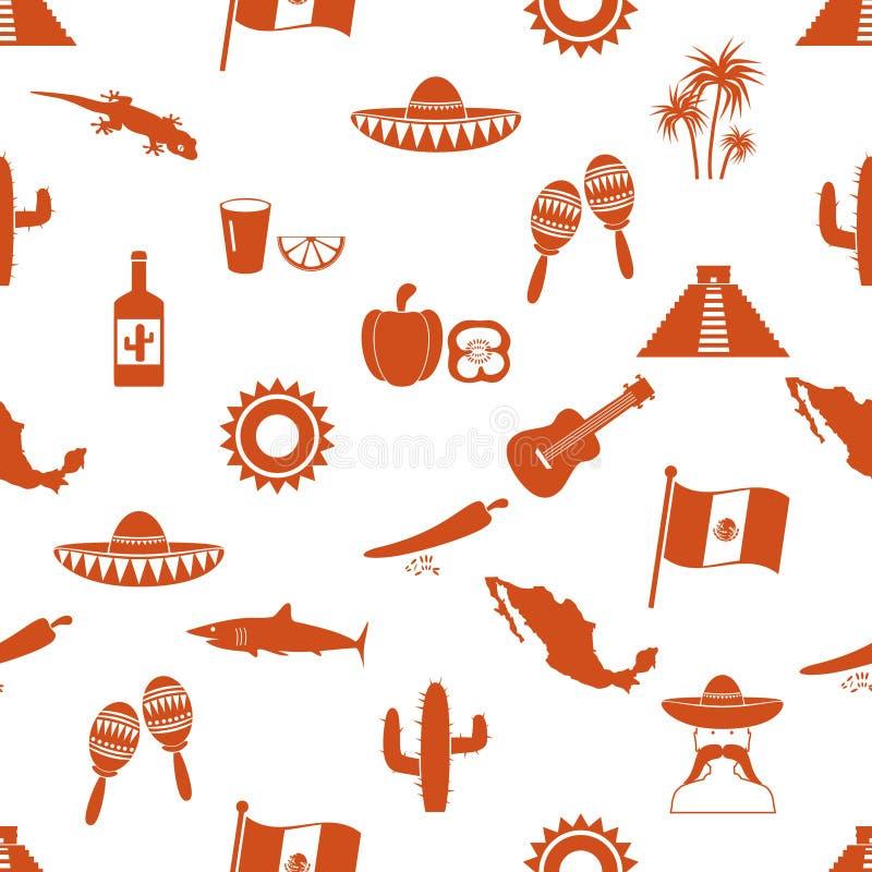 Van het themasymbolen van het land van Mexico de pictogrammen naadloos patroon eps10 royalty-vrije illustratie