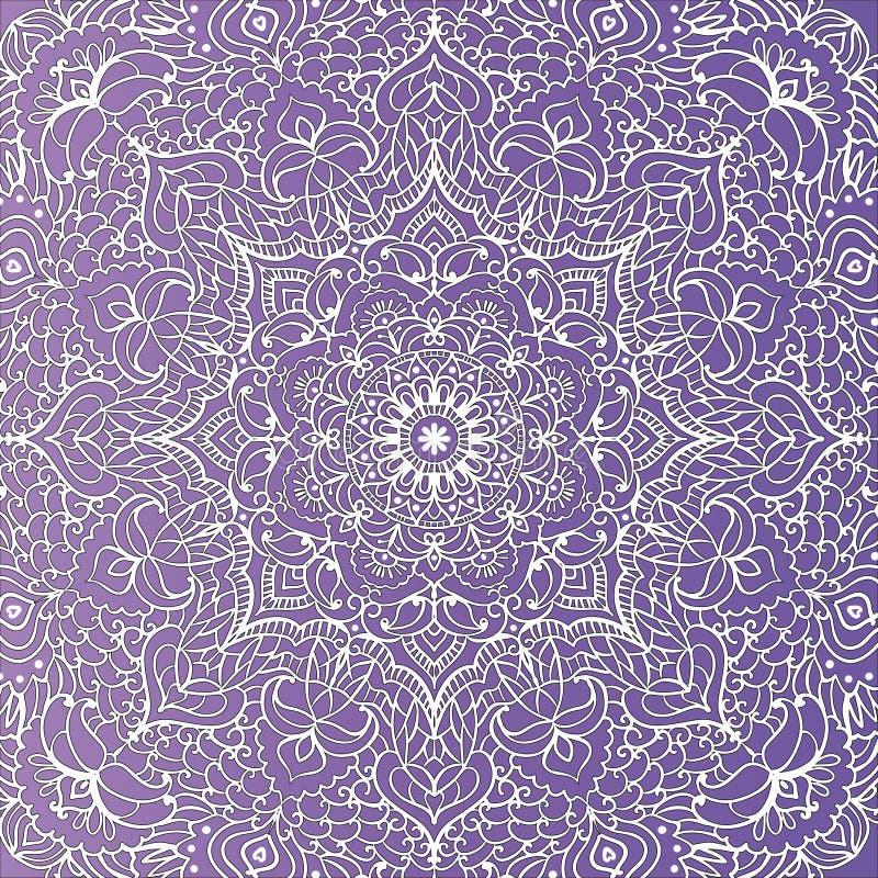 Van het Tracery violet behang bloemenpatroon als achtergrond in de vorm van een vierkante mandalaillustratie royalty-vrije illustratie