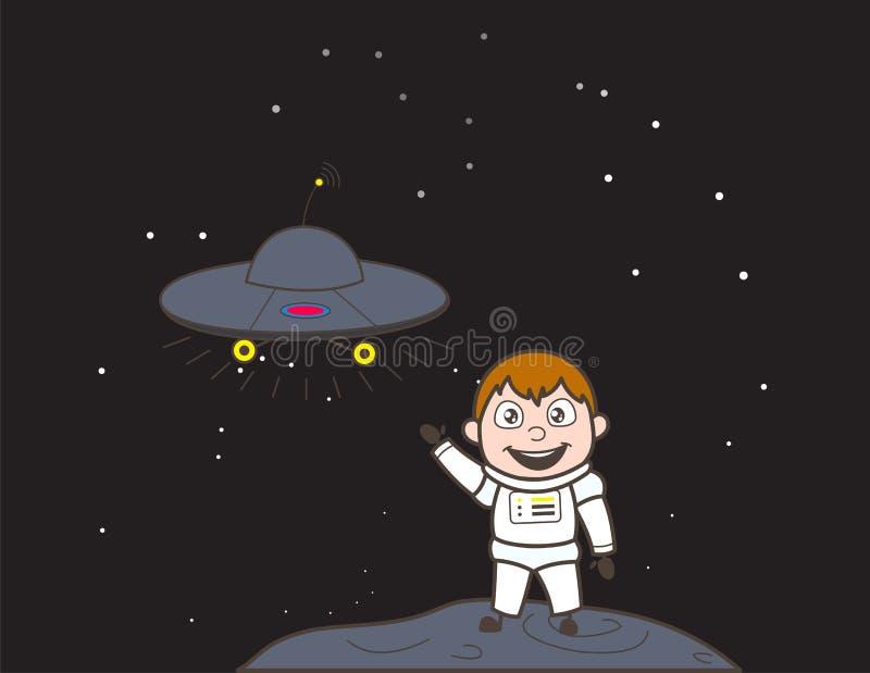 Van het het UFOschip van Showing van de beeldverhaalkosmonaut de Vectorillustratie royalty-vrije illustratie