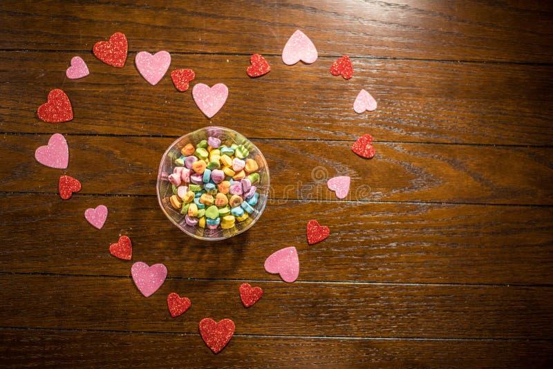 Van het valentijnskaartenhart en Liefje Suikergoed stock foto