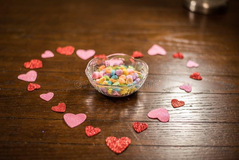 Van het valentijnskaartenhart en Liefje Suikergoed stock afbeelding