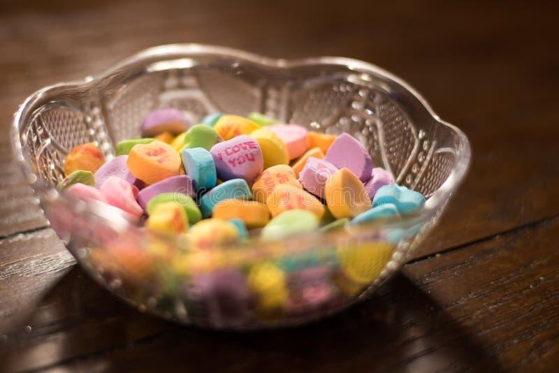 Van het valentijnskaartenhart en Liefje Suikergoed royalty-vrije stock afbeeldingen