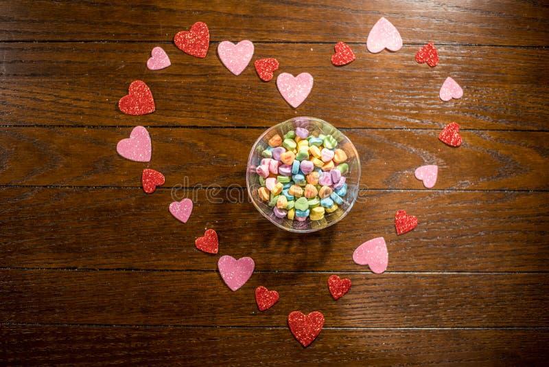 Van het valentijnskaartenhart en Liefje Suikergoed stock afbeeldingen
