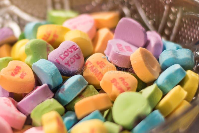 Van het valentijnskaartenhart en Liefje Suikergoed royalty-vrije stock foto