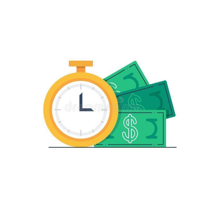Van het van de betalingsdag, klok en geld rekeningen vector illustratie
