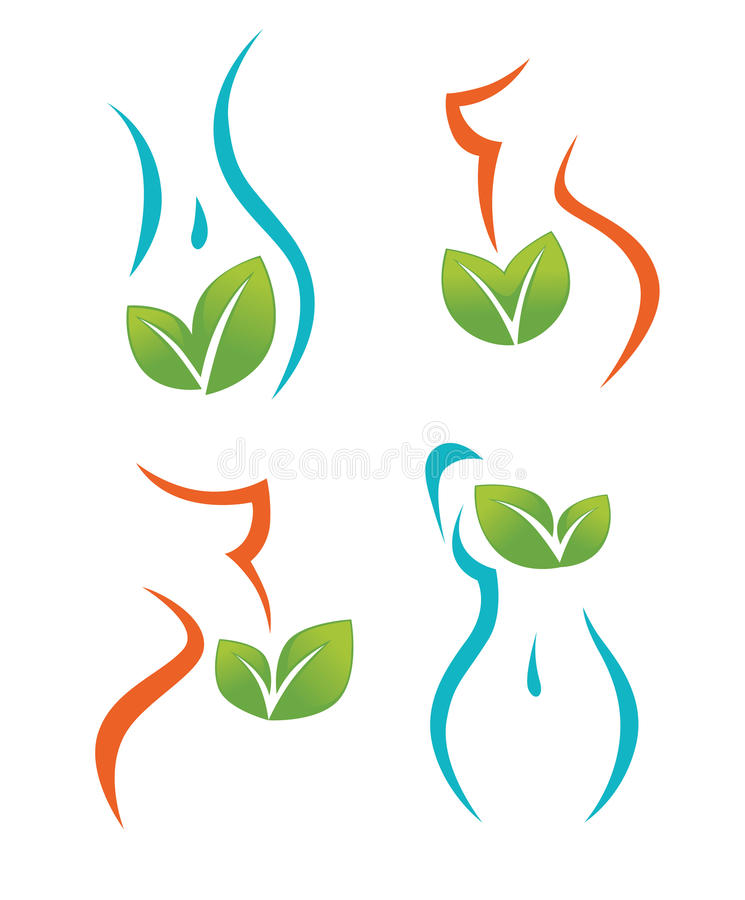 Van het van de vrouwengezondheid, schoonheid en dieet symbolen vector illustratie
