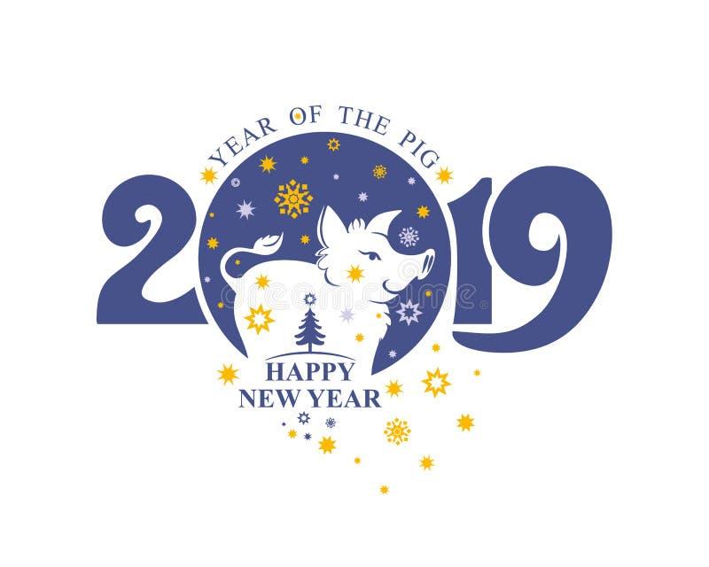 Van het varkensbeer en Kerstmis van het nieuwjaarmalplaatje aardige sterren Postzegel 2019 royalty-vrije illustratie