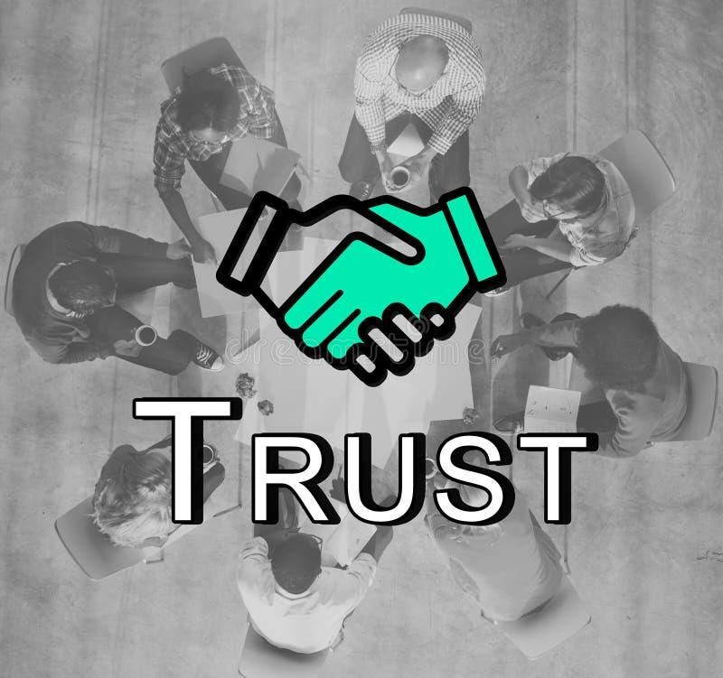 Van het Vennootschapcoooperation van de vertrouwenshanddruk het Grafische Concept royalty-vrije stock afbeeldingen