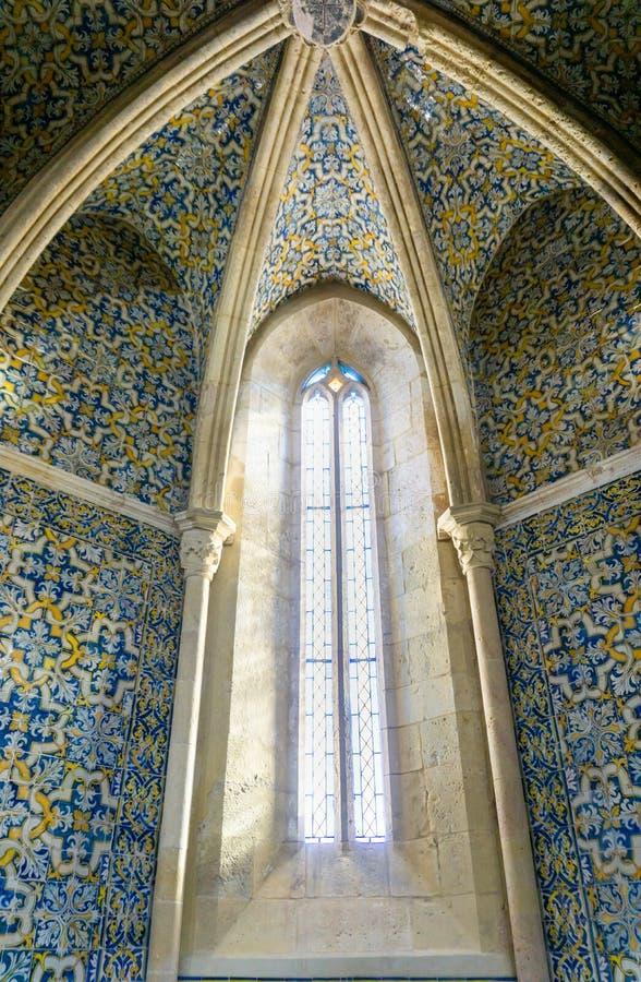 Van het het vensterdetail van Faro Portugal van de Azulejos Portugese tegel igreja DE Santa Maria royalty-vrije stock afbeelding