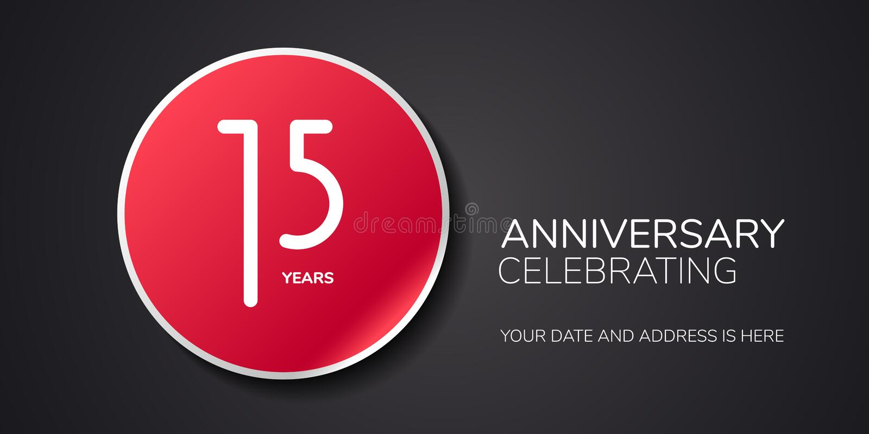 15 van het verjaardags vectorjaar embleem, pictogram Het element van het malplaatjeontwerp met aantal stock illustratie