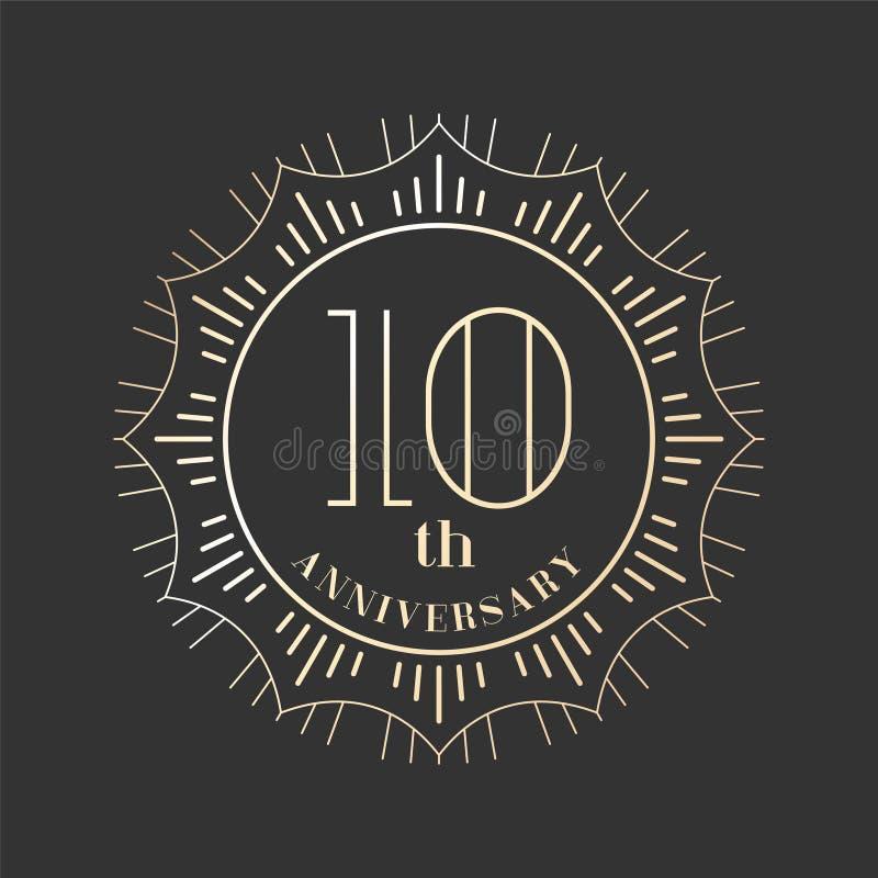 10 van het verjaardags vectorjaar pictogram, embleem royalty-vrije illustratie