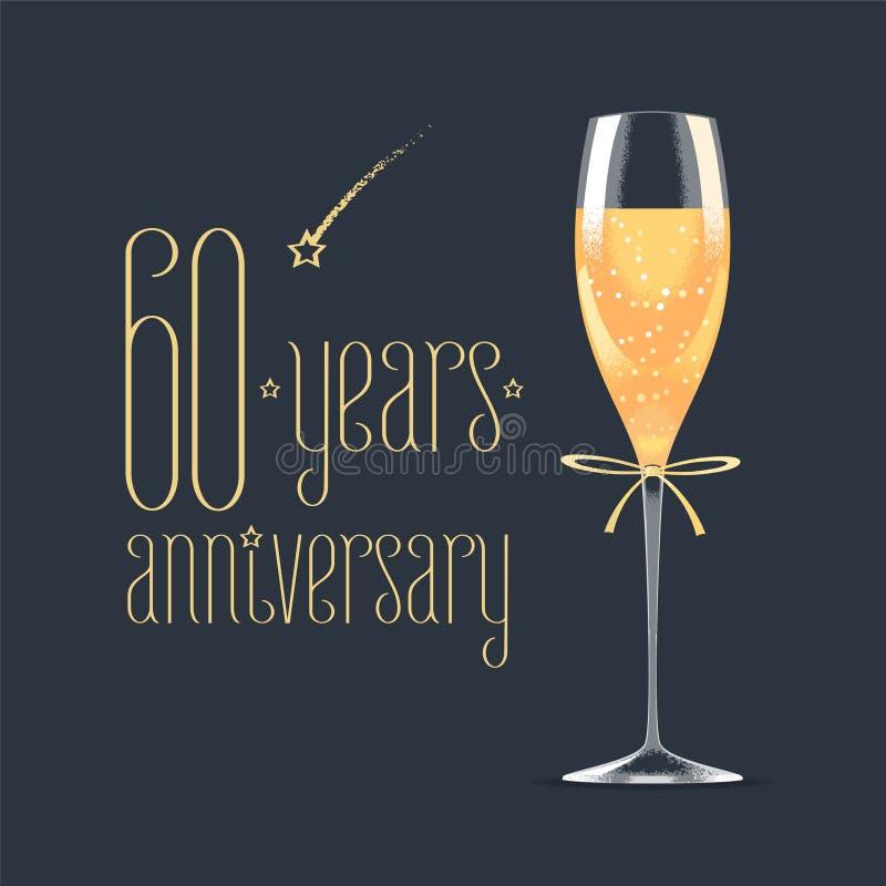 60 van het verjaardags vectorjaar pictogram, embleem stock illustratie