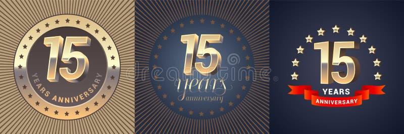 15 van het verjaardags vectorjaar pictogram, embleemreeks stock illustratie