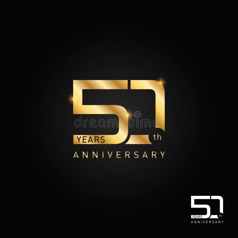 50 van het verjaardagsjaar embleem, pictogram en symbool vectorillustratie stock illustratie