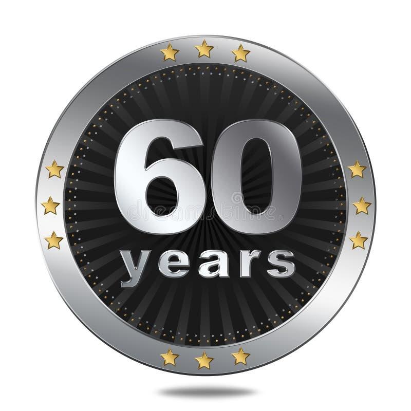 60 van het verjaardagsjaar kenteken - zilveren kleur royalty-vrije illustratie