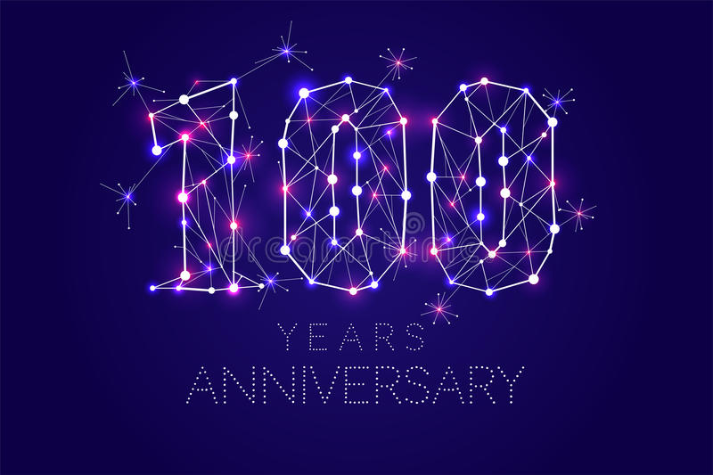 100 van het Verjaardagsjaar ontwerp Abstracte vorm met verbonden lijnen royalty-vrije illustratie