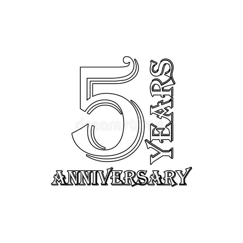 5 van het verjaardagsjaar teken Element van verjaardagsillustratie Grafisch het ontwerppictogram van de premiekwaliteit tekens en stock illustratie