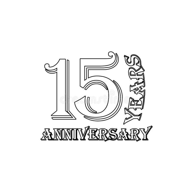 15 van het verjaardagsjaar teken Element van verjaardagsillustratie Grafisch het ontwerppictogram van de premiekwaliteit tekens e royalty-vrije illustratie