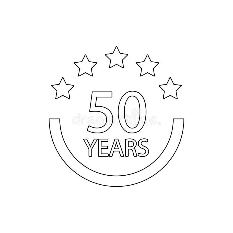50 van het verjaardagsjaar teken Element van verjaardagsillustratie Grafisch het ontwerppictogram van de premiekwaliteit tekens e stock illustratie