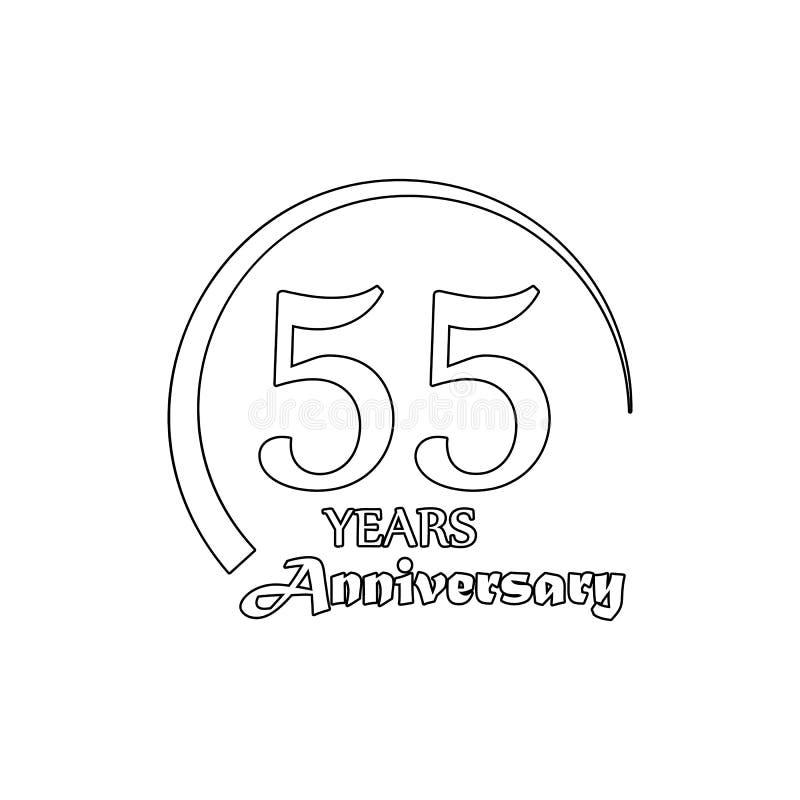 55 van het verjaardagsjaar teken Element van verjaardagsillustratie Grafisch het ontwerppictogram van de premiekwaliteit tekens e stock illustratie