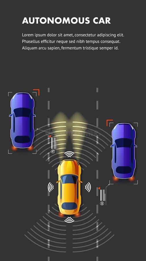 Van het het Verkeers de Hoogste Weergeven van de Autonomusauto Vectorillustratie royalty-vrije illustratie