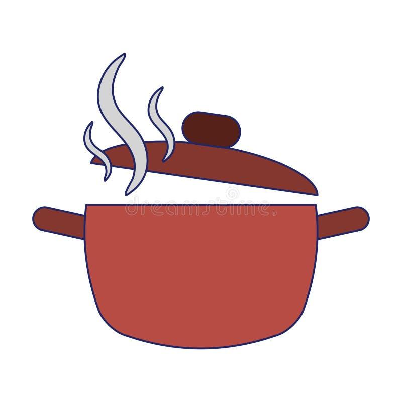 Van het het verstandaroma van de keukenpot de open blauwe lijnen vector illustratie