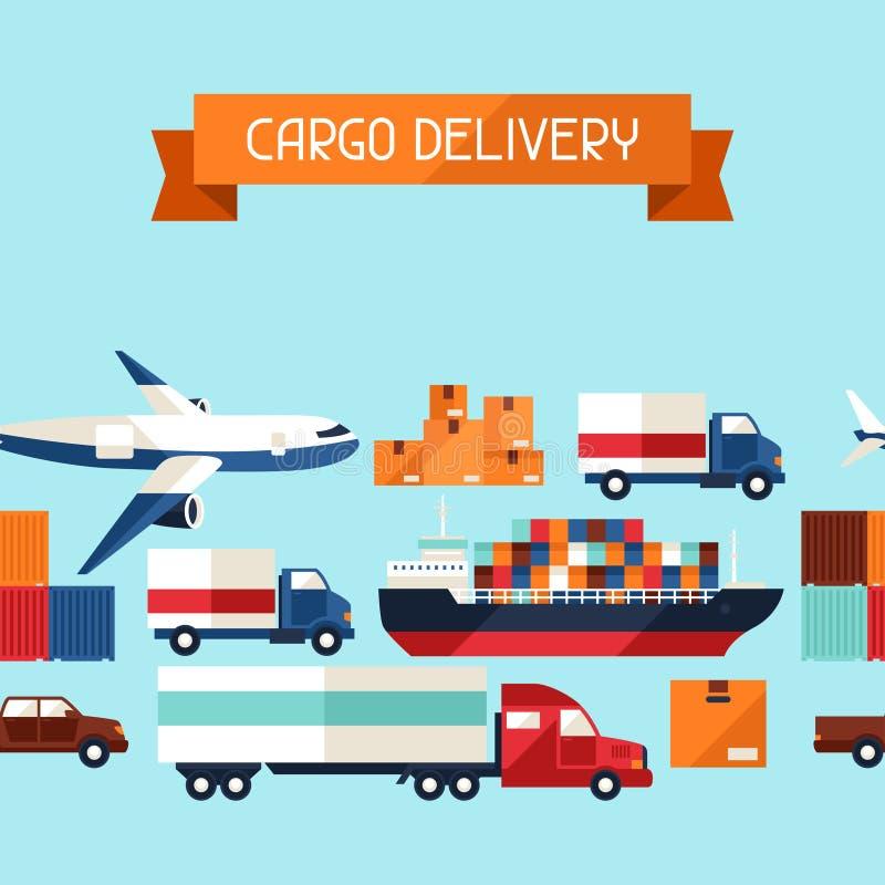 Van het vervoerpictogrammen van de vrachtlading het naadloze patroon binnen vector illustratie