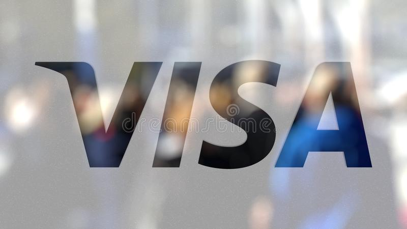 van het visum (NYSE: V) is een globaal bedrijf van de betalingentechnologie gestationeerd in San Francisco, Californië embleem op vector illustratie