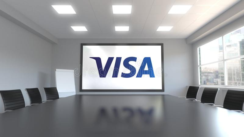 van het visum (NYSE: V) is een globaal bedrijf van de betalingentechnologie gestationeerd in San Francisco, Californië embleem op stock illustratie