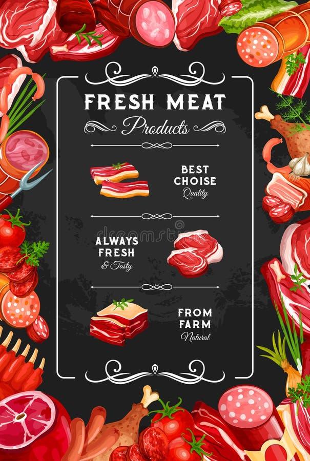 Van het vleesrundvlees en varkensvlees worsten, slagerij stock illustratie