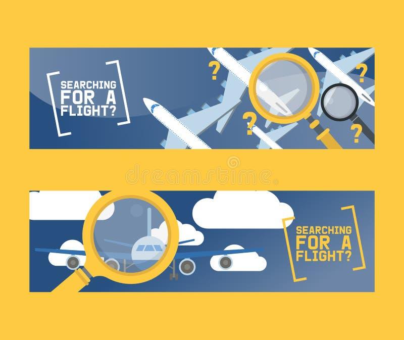 Van het vluchtonderzoek en vliegtuig het conceptenreeks van de kaartjesdienst van banners vectorillustratie Het zoeken naar vluch vector illustratie