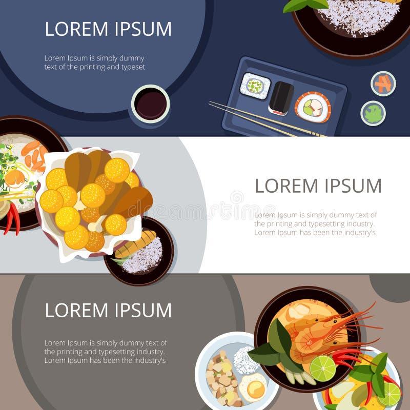 Van het voedselbanners van Azië de vectorreeks Thais voedsel, Japanse en Chinese maaltijd vector illustratie