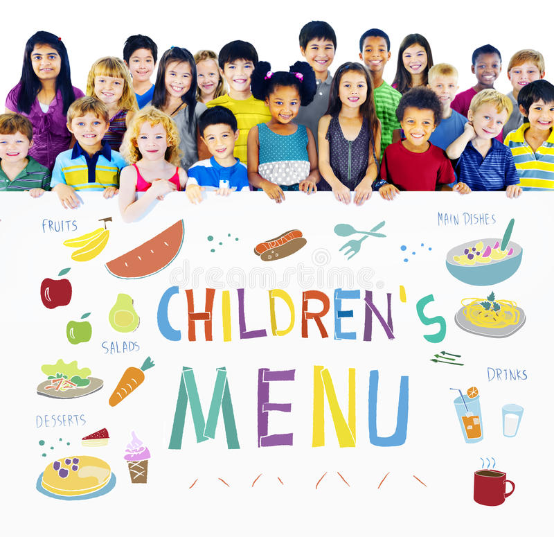 Van het Voedselrecepten van het jonge geitjesmenu de Keukenconcept royalty-vrije stock afbeelding